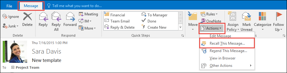 How to recall mail in outlook